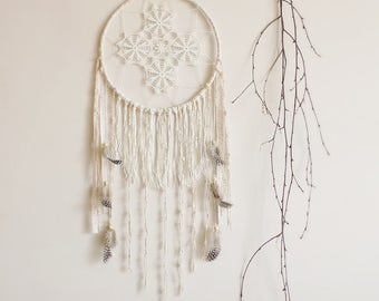 Dreamcatcher, neutral, wall hanging, handmade, wall decor, pastel dreamcatcher, large, boho, bohemian, gypsy soul, bedroom decor, boho decor