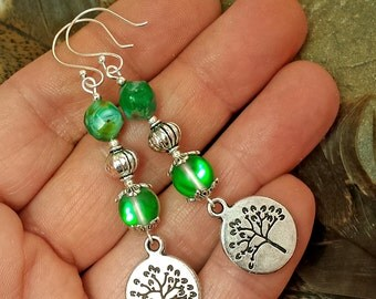 Leafy Tree Earrings, Emerald Green & Baby Blue Czech Beads, Moonstone Jewelry, Sterling Silver Ear Wires and Wire Wrap