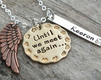 Memory Necklace Mourning   Grieving   Bereavement   Remembrance   Custom Gift   Sterling Silver Mixed Metal Necklace