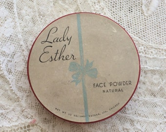 Vintage Lady Esther Face Powder Makeup Box Collectable Shabby Chic Tattered Boudoir Decor 10 cents Original Price
