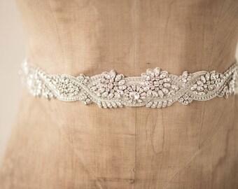 Wedding Belt Bridal Sash, Art Deco Vine & Leaf Dainty Rhinestone Clear Crystal Ornate Lace Trim Embroidered Design, Camilla Christine MARTHA