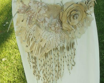 Multi Layered Antique Lace and Leather Butterfly and Fringe Belt