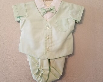 Vintage Baby Boy Green Diaper Set with Bow Tie - Size 0-3 months - New, never worn- Easter Outfit