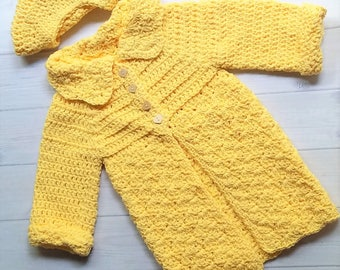 Girls Clothing, Girls Sweater, Crocheted Cotton Baby Sweater, Yellow Baby Sweater, Baby Girl Sweater, Baby Girl Clothing, Yellow Sweater
