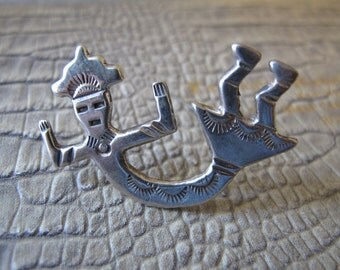 YEI SPIRIT Brooch Pin, Sterling Silver Native American Indian Silver Vintage Jewelry/ Indian Symbolism/ Harmony/ Navajo Spiritual Healing