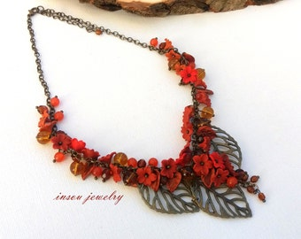 Fall Necklace Flower Necklace Autumn Jewelry  Flower Jewelry Romantic Jewelry Polymer Jewelry Gift For Her