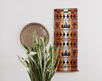 Vintage Ecuador Tribal Woven Wall Hanging Weaving Textile Art