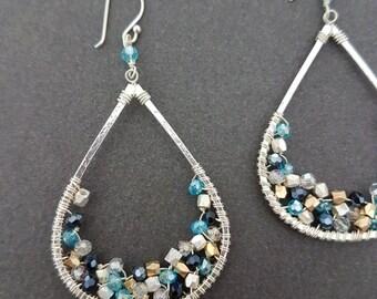 Ethnic Silver Teardrop Wire Wrapped Earrings, Beaded Earrings, Boho, Dangle, Swarovski, Anthropologie Inspired