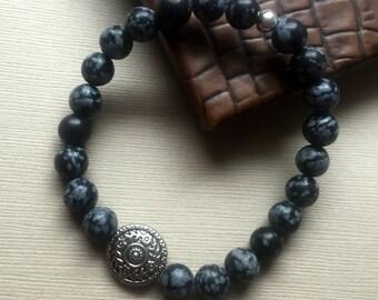 Stone Gray Stretch Bracelet FREE Shipping Boho Stacking Natural Jasper Beaded Silver Black Chic Bohemian Fashion Jewelry Paisley Beading