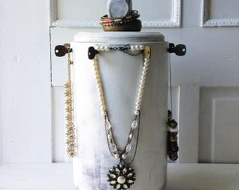 Rotating Necklace Display - Spinning Jewelry Rack - Recycled Architectural Column & Brass Hotel Keys - Distressed White Paint -Ready to Ship