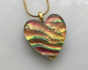 Dichroic Heart Pendant, Fused Glass Jewelry, Coral Gold Dichroic Heart Necklace