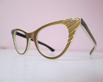 Amazing Vintage 1950s 50s Metallic Brown Lucite Cool Ray Polaroid Eyeglasses Sunglasses Catseye Frame -Bad Girl-Pinup-JD-Juvenile Delinquent