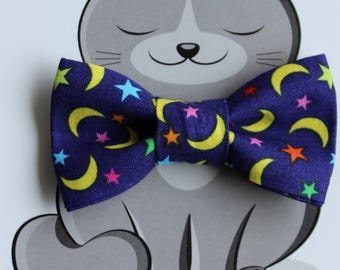 Moon and Stars Bow Tie for Cat or Dog, Pet Clothing, Slide on Collar Accessory, Pet Bowtie, Handmade in Canada, Dark Blue, Yellow, Crescent
