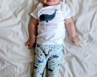 Nautical Whale organic baby leggings. Featuring Whales, crabs, fish and boats.