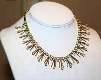SARAH COVENTRY  Designer Couture Rhinestone Spiky Choker Cleopatra High End Necklace ND