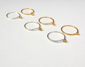 Little blobs - stacking rings or singles. Stackable or simply 1. Mixed metals. Silver and gold.