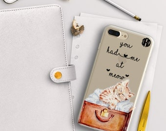 You had me at meow , Cat iPhone case clear , Gift for cat lover , Cute kitten print (1761)