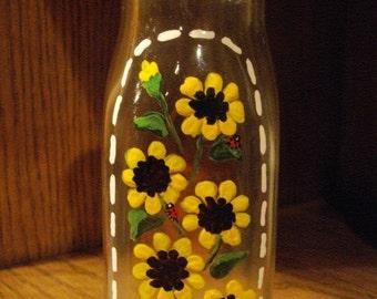 SUNFLOWERS & LADYBUGS Hand Painted Vintage Cream Bottle
