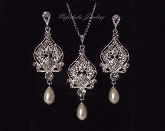 SALE- Rhinestone Bridal Jewelry Set, Pearl Wedding Jewelry Set, Bridal necklace & earring set, Crystal Bridal Jewelry, Swarovski Wedding Set