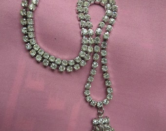 Funky Elegant White Rhinestone Necklace or Choker with Crown Emblem and Hook Clasp