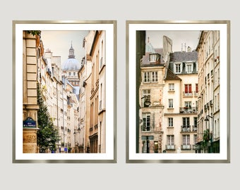 Paris prints set of 2, Architectural wall art photography, vertical art large posters, neutral beige living room decor, Diptych 20x30 prints