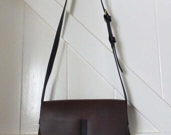 Handmade messenger bag 'Dairy Milk' leather with adjustable black strap silver stud fastening overbody Alice bag made in Devon