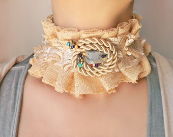 Fabric mesh and lace choker collar Ruffle high neck collar with silk cord and raw crystal quartz Wide choker collar necklace Textile jewelry