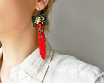 Long red feather earrings Extra long big feather dangle earrings with leather and beads Funky oversized earrings Mixed Media Beaded earrings