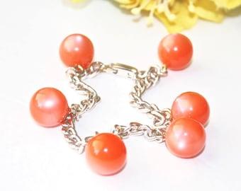 Orange Moonglow Bracelet ~ Vintage Peach Moon Glow Bead Charm Chain Link ~ Germany