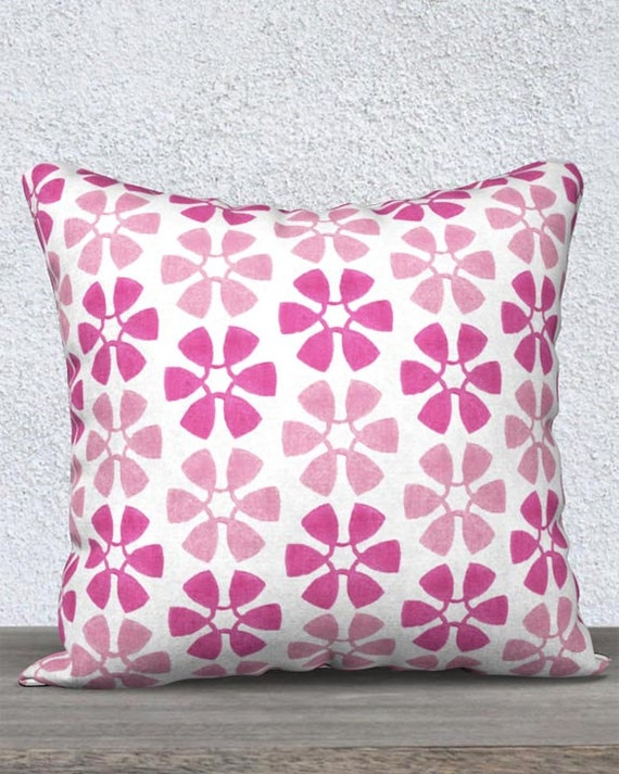 Hot Pink Girls Pillow; Pinwheel Pattern