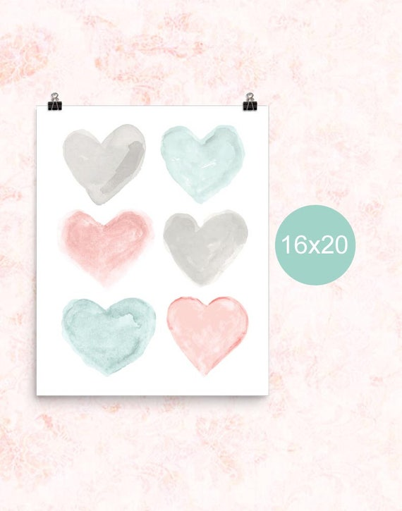 Blush and Teal Poster for Girls Room, 16x20, 12x16