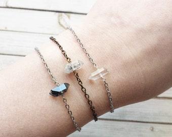 Quartz Bracelets | Dainty Bracelets | Simple Bracelets | Gemstone Bracelets | Raw Crystal Bracelets | Bridesmaid Gifts | Bracelets |