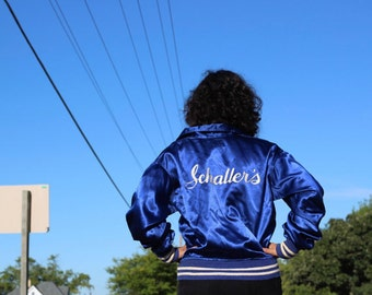 "Vintage Bomber Jacket SATIN Rayon Jumper FELCO Athletic Sport Team ""Schaller's"" Sweatshirt Top Union Made Hip Hop High Fashion Shirt Size 44"
