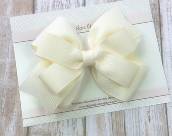 Ivory Girls Bow - Ivory Hair Bow - Ivory Hair Clip - Ivory Toddler Bow - Classic Hair Bow - Ivory Bow - Hair Bows for Girls - Ivory Baby Bow