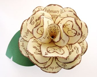 Rustic Save the Date Paper Rose with Magnet