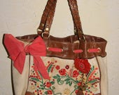 JUICY COUTURE Beige Velour Shoulder Bag Handbag Tote Leather Trim Scarf Trim With Flower Motif And Attached Flower Charm