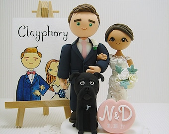 Cute couple with dog custom wedding cake topper
