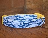 Fish Dog Collar - Blue/White Fish Print