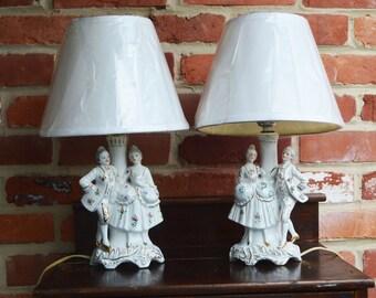 Vintage Victorian Porcelain Electric Dresser Lamps. Made in Japan.