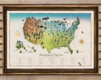 NEW! National Park Map / Checklist Map Poster /My Best Seller!/ National Parks/ Home and Living / Camping / Travel /