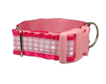 """Pink Gingham Dog Collar 1.5"""" Buckle or Martingale Style"""