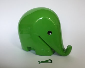 Vintage XXL Colani Style Elephant Piggy Bank with KEY. Space Age. Green. 1960s. German. Drumbo. Germany. 2017_011