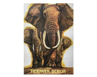 SALE 10% OFF Original Vintage Zoo Poster. Berlin. Germany. Tierpark. Elephant. Advertising Poster. 2017-055