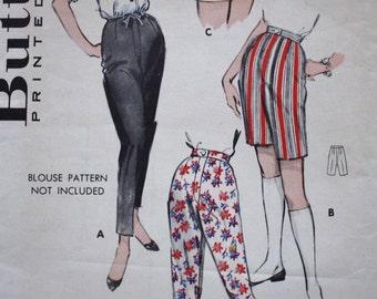 1950s Pants Pattern /Butterick 8582 /Skinny Pants/Bermuda Shorts/ Short Shorts / Waist 26