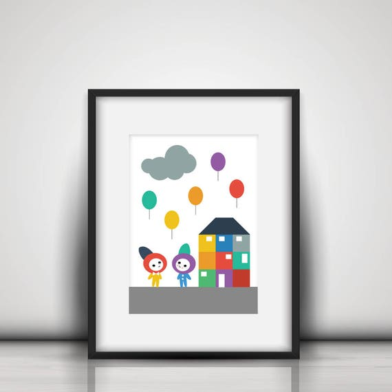 Bold Baby Playroom Nursery Rainbow Balloons, Clouds and House Kawaii Cute Modern Trendy Print - Digital Instant Download