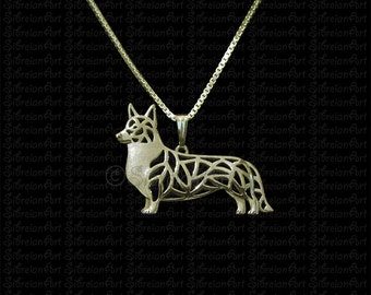 Cardigan Welsh Corgi - Gold pendant and necklace.