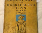 Huck Finn old book Mark Twain Kemble edition yellow 1927 aged AS IS antique storybook