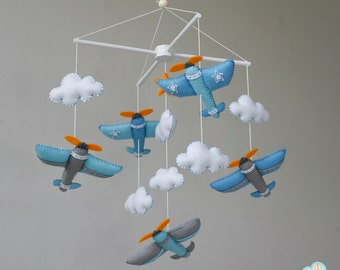 Aviator baby mobile, Airplanes baby mobile up in the sky baby mobile