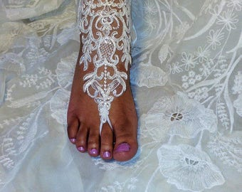 Ivory Sparkle Wedding Barefoot Sandals Sequin Lace Beach Wedding Barefoot Sandals