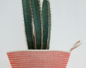 Rope Planter Bowl in Fresh Coral (small size)